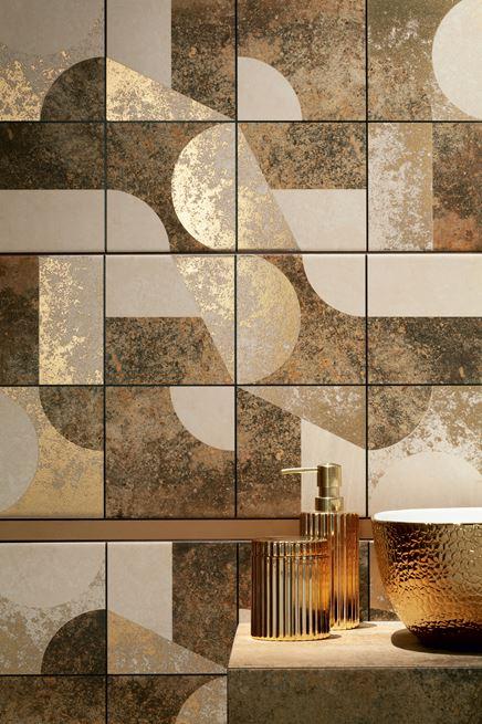 Detal geometrycznej płytki dekoracyjnej z kolekcji Domino Credo