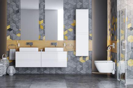 Geometryczna łazienka z białymi meblami