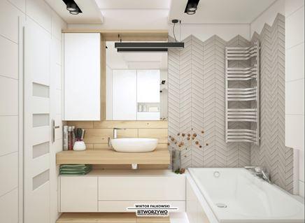 Skandynawska łazienka - drewno i jodełka