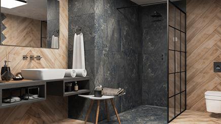 Stylowa łazienka z drewnie i kamieniu z kabiną walk-in