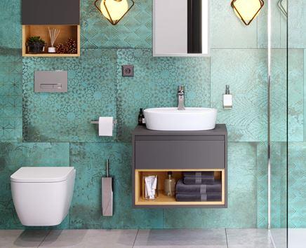 Turkusowa łazienka z wiszącymi meblami
