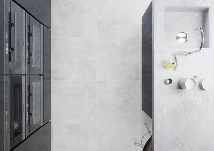 Podłoga w kuchni z płytki Apenino Bianco marki Cerrad
