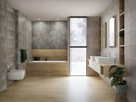 Szaro-brązowa łazienka z oknem