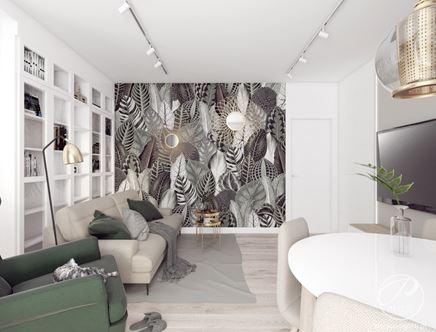 Graficzna tapeta z motywem roślinnym w aranżacji nowoczesnego salonu