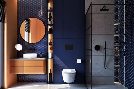 Granatowa łazienka z mozaiką