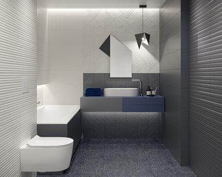 Geometryczna łazienka w bieli i szarości
