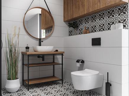 Łazienka w skandynawskim stylu z patchworkową płytka i elementami drewna