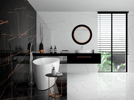 Aranżacja dużej łazienki z płytką imitującą marmur - Azario Tanami