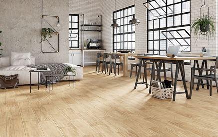Salon z kuchnią w industrialnym stylu