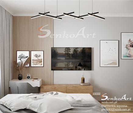 Dekoracyjna ściana z lamelkami w sypialni