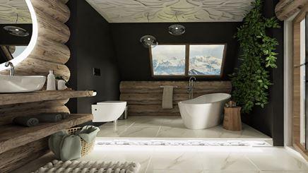 Rustykalna łazienka w góralskim stylu