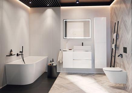 Nowoczesna łazienka z beżową jodełką i strukturą
