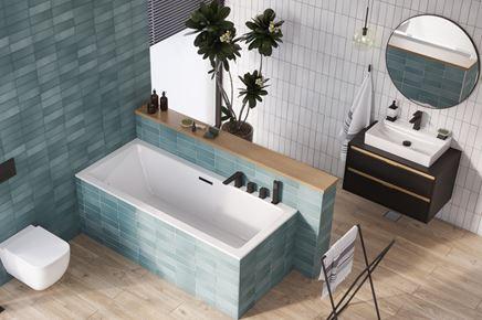 Nowoczesna łazienka z drewnem i cegiełkami