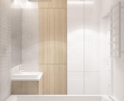 Mała łazienka - drewno i biała zabudowa
