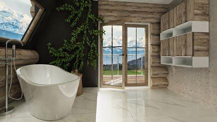 Góralska łazienka z wyjściem na balkon