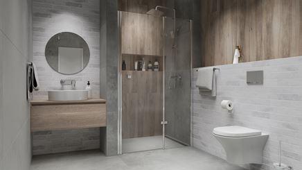 Aranżacja łazienki z drewnem i cegłą