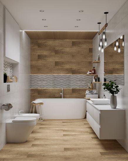 Imitacja drewna na ścianie i podłodze w łazience