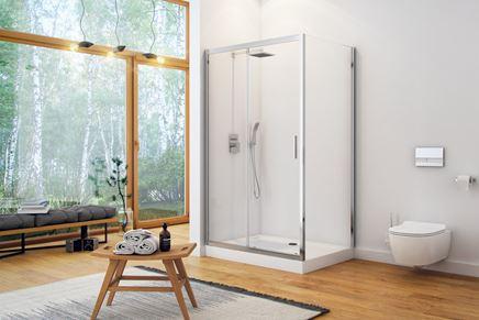 Przestronna łazienka w drewnie z kabiną Excellent Seria 201