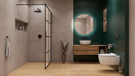Zielona łazienka z płytką drewnopodobną