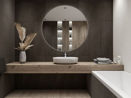 Elegancka łazienka w czerni z dodatkiem drewna