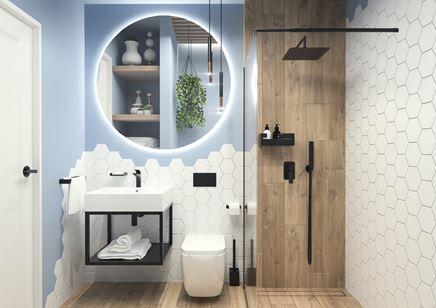 Niebiesko-biała łazienka z czarną armaturą