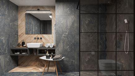 Aranżacja łazienki w szarym kamieniu z dodatkiem drewna