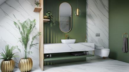 Zieleń i biały marmur w stylowej łazience