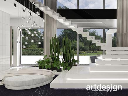 Białe schody dywanowe w stylu nowoczesnym