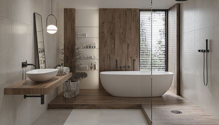Aranżacja dużej łazienki wykończonej drewnem