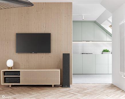 Ściana telewizyjna w drewnianych lamelach
