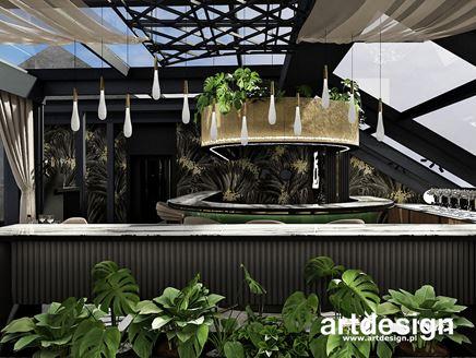 Bar restauracyjny skąpany w zieleni