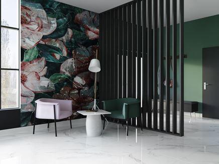 Kącik wypoczynkowy z dekoracyjną ścianą