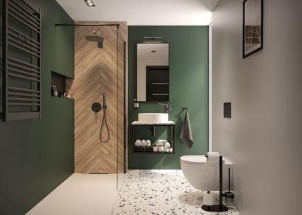 Nowoczesna łazienka w zieleni z kabiną walk-in