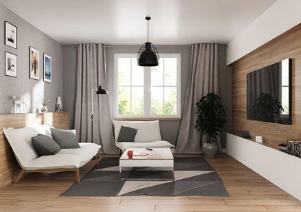 Przestronny salon ze ścianą telewizyjną