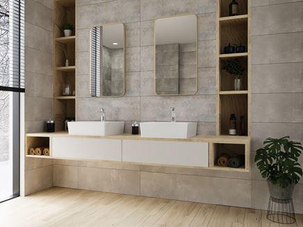 Szara łazienka i strefa umywalkowa dla dwojga