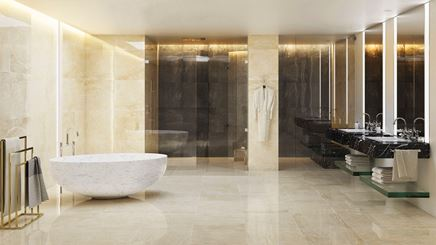 Łazienka glamour z marmurową płytką Nowa Gala Golden Beige