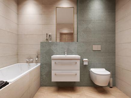 Jasna łazienka z zielonymi dekorami
