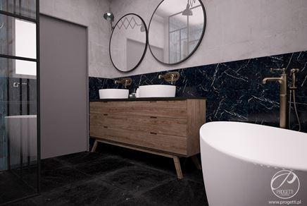 Łazienka z białym i czarnym marmurem