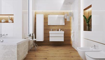 Łazienka w drewnie z białymi akcentami