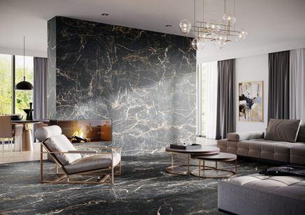 Salon w stylu glomur w ciemnym marmurze