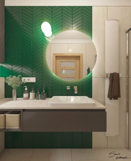 Modna zielona jodełka w łazience