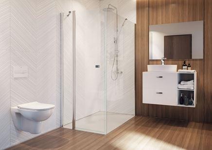 Brązowe i drewno i biel w nowoczesnej łazience