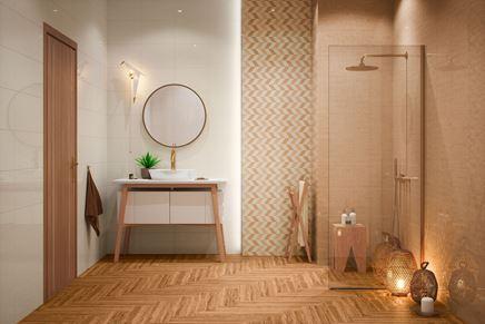 Beżowa łazienka z geometryczną dekoracyjną ścianą