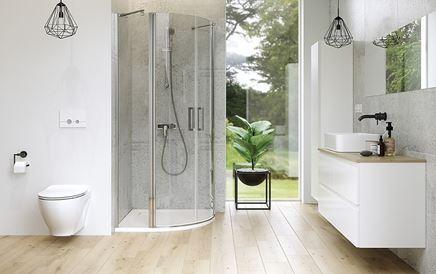 Minimalistyczna łazienka w jasnych kolorach