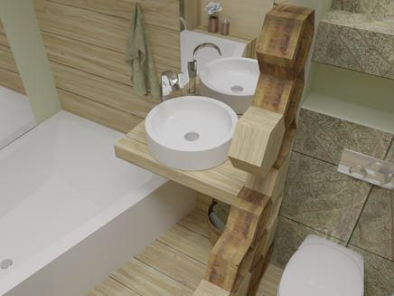 Łazienka Zieleń-Drewno