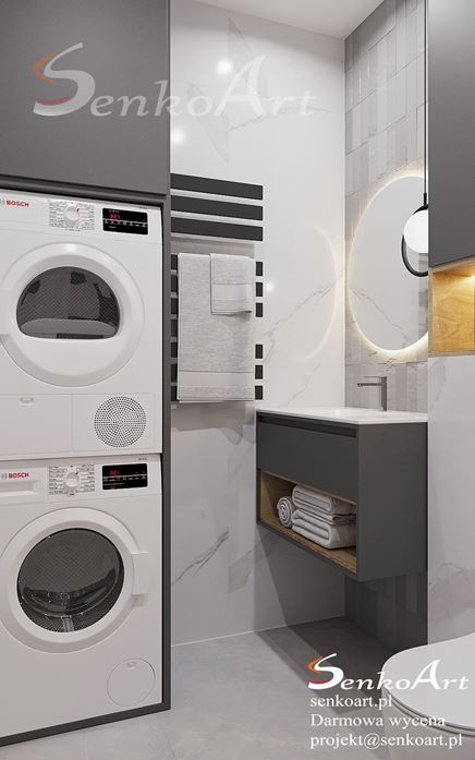 Zabudowa pralki i suszarki w toalecie