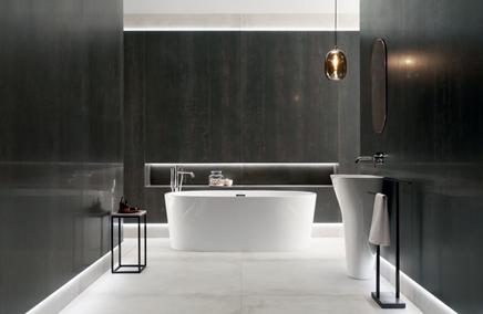 Stylowa łazienka w wielkoformatowym graficie