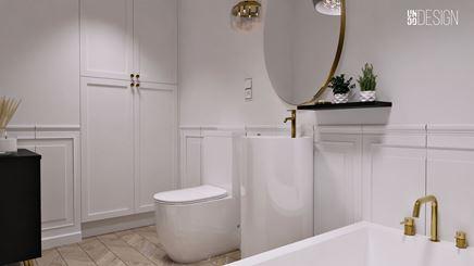 Biała, francuska łazienka z monolityczną umywalką