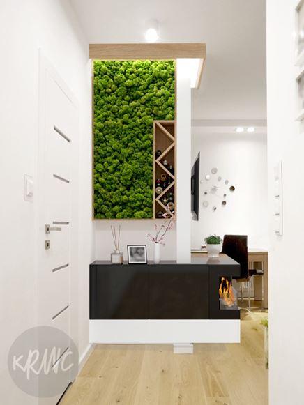 Ściana z mchem w salonie