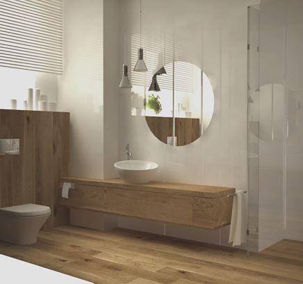 Skandynawska łazienka z dużymi lustrami